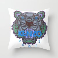 kenzo Throw Pillows featuring Kenzo tiger with seamns blue by cvrcak
