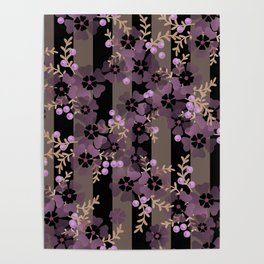 Purple flowers . Striped Poster