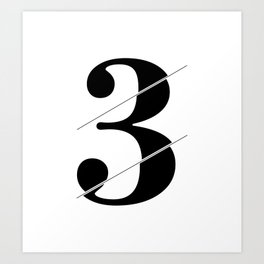 """Sliced Collection"" - Minimal Number Three Print Art Print"