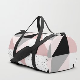 Geometrical pink black gray watercolor polka dots color block Duffle Bag