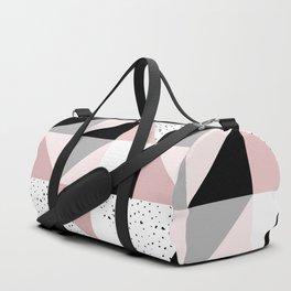 Geometrical pink black gray watercolor polka dots color block Duffle Bag