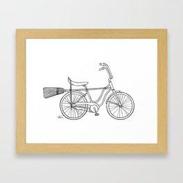 vintage witch bike Framed Art Print