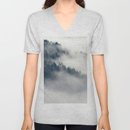 Mountain Fog and Forest Photo Unisex V-Neck