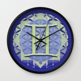 Flower of Life GEMINI Astrology Design Wall Clock
