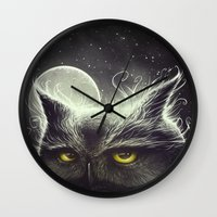 owl Wall Clocks featuring Owl & The Moon by Dr. Lukas Brezak