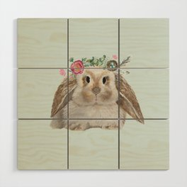 Spring Bunny with Floral Crown Wood Wall Art