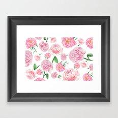 Watercolor Peonies Framed Art Print