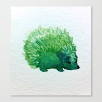 hedgehog Canvas Prints featuring hedgehog by carrie booth