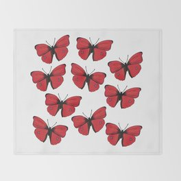 Red butterfly Spring Art Throw Blanket