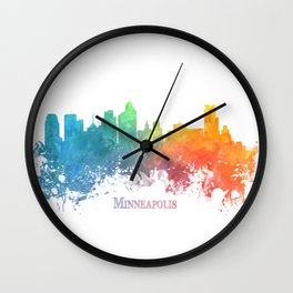 Skyline Minneapolis colored Wall Clock