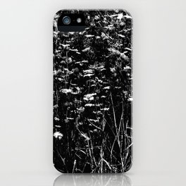 High-Contrast Black and White Queen Anne's Lace Hillside iPhone Case