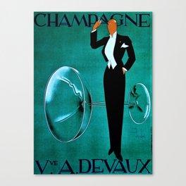 Vintage Champagne Veuve A. Devaux, Paris Advertisement Poster Canvas Print