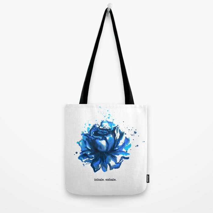 Inhale. Exhale. Blue Rose Watercolor Tote Bag