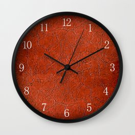 Brown puckered leather material abstract Wall Clock