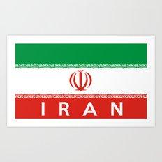 Iran country flag name text Art Print