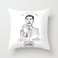 dale cooper Throw Pillows featuring DALE COOPER : THIS PIE IS SO GOOD IT IS A CRIME by Adrianna Ojrzanowska