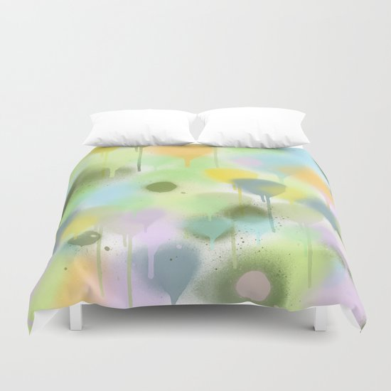 Dripping paint abstract in pastel colors Duvet Cover