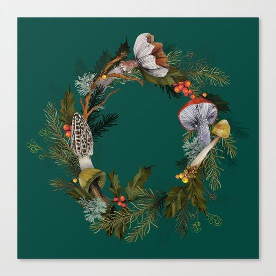 Mushroom Forest Wreath Canvas Print