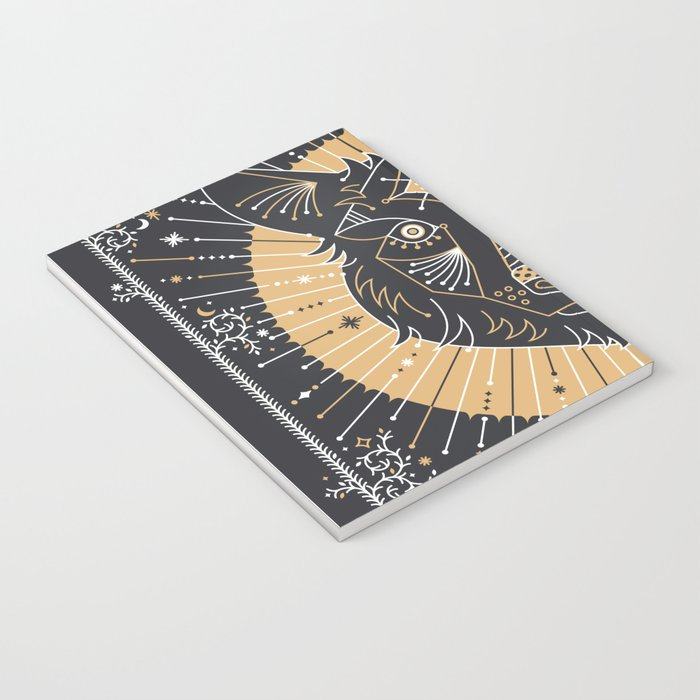 Wild & Free Wolf – Gold & Grey Notebook