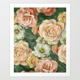 Floral rose pattern Art Print