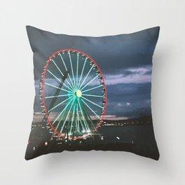 Seattle Night Ride Throw Pillow