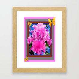 Yellow Butterflies Pink Iris Flower Art Design. Framed Art Print