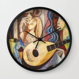 Mandolin and Female Mediterranean Musicians still life by Antonio Diego Voci Wall Clock