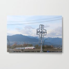 East Van Cross Skytrain Metal Print