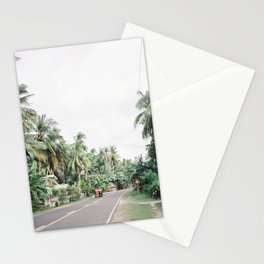 Tuk Tuk on a Road in a Jungle of Palm Trees   Philippines Tropical Island Siquijor Tricycle Travel   South East Asia Wanderlust Photography Stationery Cards