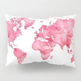 Raspberry watercolor world map Pillow Sham