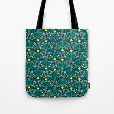 Folk Flowers Green Tote Bag