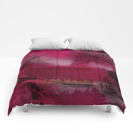 """""""Spring abstract in Magenta and Black"""" Comforters"""