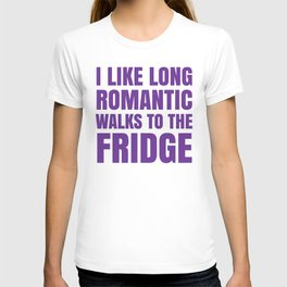 I LIKE LONG ROMANTIC WALKS TO THE FRIDGE (Purple) T-shirt