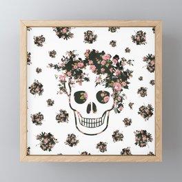 Flower Skull, Floral Skull, Pink Flowers on Human Skull Framed Mini Art Print