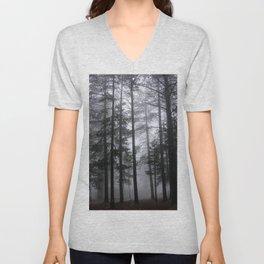 Mist Fog Ponderosa Pine Trees Unisex V-Neck