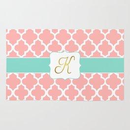 """Pink Quatrefoil with """"K"""" Monogram Rug"""