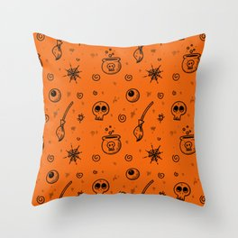 Halloween symbols seamless pattern Throw Pillow