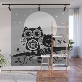 B&W Flower power Owl and her Sleepy Baby Wall Mural