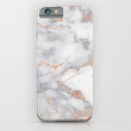 Grey Marble Rosegold  Pink Metallic Foil Style iPhone Case