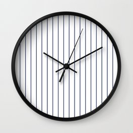 Classic Blue Baseball Stripe Lines On White Wall Clock