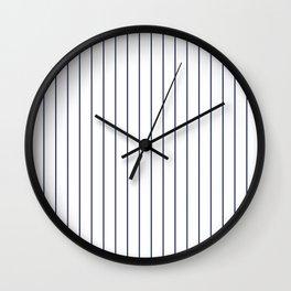 Classic Blue Baseball Stripe Lines On White Wall Clock