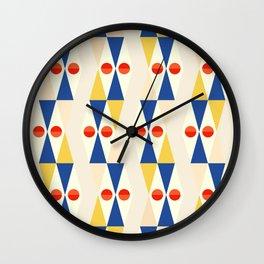 Modern Geo Design // Red, Yellow + Blue Wall Clock
