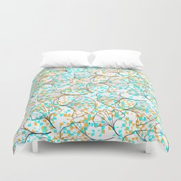 grid in yellow and blue and petals Duvet Cover