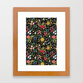 Amazing floral pattern with bright colorful flowers, plants, branches and berries on a black backgro Framed Art Print