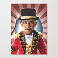 obama Canvas Prints featuring OBAMA by NOXBIL