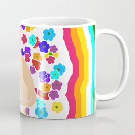 The Tale of the Orange Cat and a Mouse Against Flowers 80s Version Coffee Mug