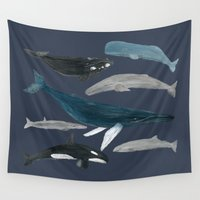 whales Wall Tapestries featuring whales by L Step