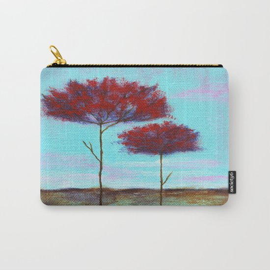 Cherished, Abstract Landscape Skinny Trees Carry-All Pouch