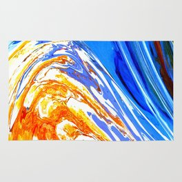 Riding the Wave of Orange Emotion; Fluid Abstract 53 Rug
