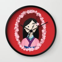 mulan Wall Clocks featuring Mulan  by Joey Ellson